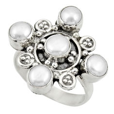 Clearance Sale- 925 sterling silver 4.38cts natural white pearl round ring jewelry size 9 d33924