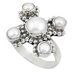 Clearance Sale- 4.28cts natural white pearl 925 sterling silver ring jewelry size 7 d33931