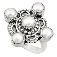 Clearance Sale- 4.66cts natural white pearl 925 sterling silver ring jewelry size 6.5 d33936
