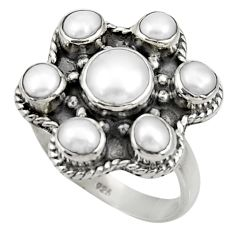 Clearance Sale- 4.51cts natural white pearl 925 sterling silver ring jewelry size 7 d33946