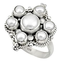 Clearance Sale- 4.70cts natural white pearl 925 sterling silver ring jewelry size 7.5 d33949