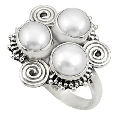 Clearance Sale- 925 sterling silver 7.51cts natural white pearl round ring jewelry size 7 d33957