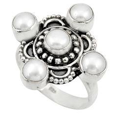 Clearance Sale- 925 sterling silver 4.51cts natural white pearl round ring jewelry size 7 d33960
