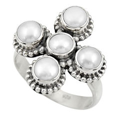 Clearance Sale- 925 sterling silver 5.06cts natural white pearl round ring jewelry size 8 d33980