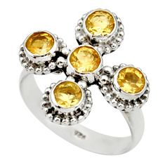 Clearance Sale- 2.67cts natural yellow citrine 925 sterling silver ring jewelry size 6.5 d33983