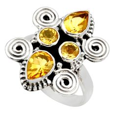 Clearance Sale- 925 sterling silver 4.63cts natural yellow citrine ring jewelry size 7.5 d34004