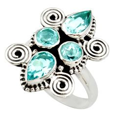 Clearance Sale- 925 sterling silver 4.92cts natural blue topaz pear ring jewelry size 7 d34009