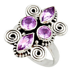 Clearance Sale- 4.73cts natural purple amethyst 925 sterling silver ring jewelry size 7.5 d34011