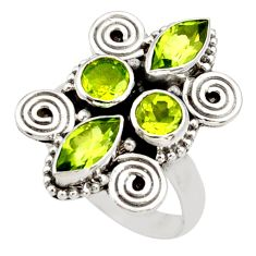 Clearance Sale- 925 sterling silver 4.73cts natural green peridot ring jewelry size 7 d34013