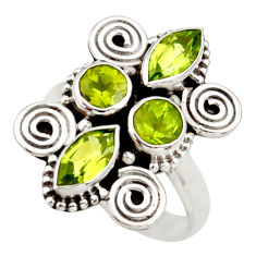 Clearance Sale- 4.52cts natural green peridot 925 sterling silver ring jewelry size 7.5 d34014
