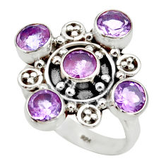 925 sterling silver 4.77cts natural purple amethyst ring jewelry size 8.5 d34023