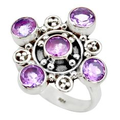 4.65cts natural purple amethyst 925 sterling silver ring jewelry size 8 d34024