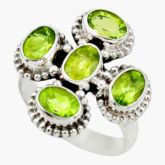 Clearance Sale- 4.92cts natural green peridot 925 sterling silver ring jewelry size 7.5 d34026