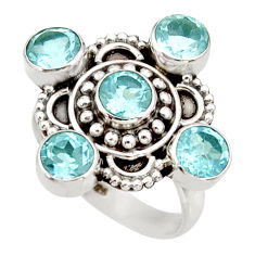 Clearance Sale- 4.65cts natural blue topaz 925 sterling silver ring jewelry size 7 d34030