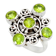 Clearance Sale- 4.74cts natural green peridot 925 sterling silver ring jewelry size 6.5 d34035