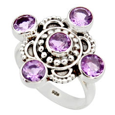 Clearance Sale- 4.65cts natural purple amethyst 925 sterling silver ring jewelry size 8 d34037