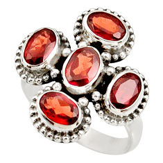 Clearance Sale- 5.36cts natural red garnet 925 sterling silver ring jewelry size 6.5 d34040