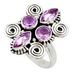 Clearance Sale- 5.38cts natural purple amethyst 925 sterling silver ring jewelry size 7 d34041