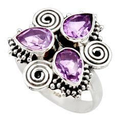 Clearance Sale- 925 sterling silver 4.69cts natural purple amethyst ring jewelry size 7.5 d34046
