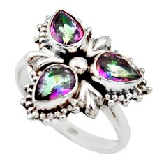 925 sterling silver 4.69cts multi color rainbow topaz ring jewelry size 8 d34053