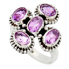 Clearance Sale- 5.15cts natural purple amethyst 925 sterling silver ring jewelry size 7 d34062