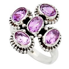 Clearance Sale- 5.38cts natural purple amethyst 925 sterling silver ring jewelry size 6.5 d34063
