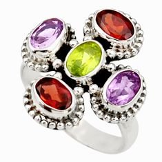Clearance Sale- 925 sterling silver 5.36cts natural purple amethyst peridot ring size 7 d34079