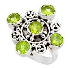 Clearance Sale- 4.67cts natural green peridot 925 sterling silver ring jewelry size 6.5 d34087