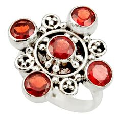 Clearance Sale- 4.74cts natural red garnet round 925 sterling silver ring jewelry size 7 d34089