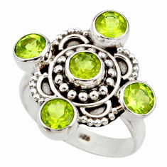 Clearance Sale- 4.63cts natural green peridot 925 sterling silver ring jewelry size 8 d34097