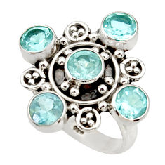 Clearance Sale- 4.51cts natural blue topaz 925 sterling silver ring jewelry size 7 d34100