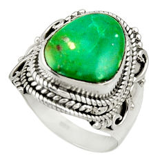 6.03cts natural green opaline 925 sterling silver solitaire ring size 7.5 d34101