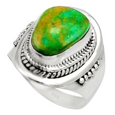 5.76cts natural green opaline 925 silver solitaire ring jewelry size 7.5 d34103
