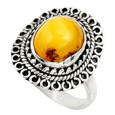 925 silver 4.86cts natural yellow amber bone oval solitaire ring size 8 d34124