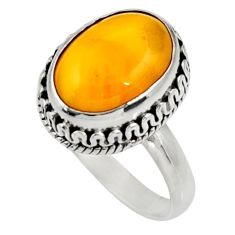 4.43cts natural yellow amber bone 925 silver solitaire ring size 7.5 d34130
