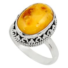 5.56cts natural yellow amber bone 925 silver solitaire ring size 7.5 d34132