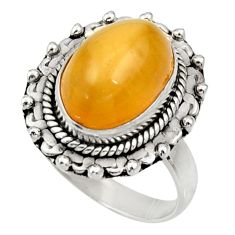 5.11cts natural yellow amber bone 925 silver solitaire ring size 6.5 d34138