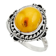 Clearance Sale- 925 silver 5.06cts natural yellow amber bone solitaire ring size 7.5 d34140