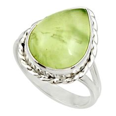 10.25cts natural green prehnite 925 silver solitaire ring jewelry size 9 d34146