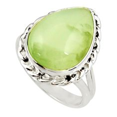 Clearance Sale- 10.60cts natural green prehnite 925 silver solitaire ring jewelry size 7 d34147