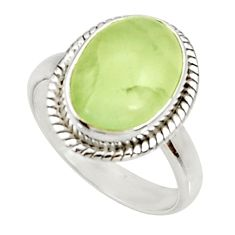 925 silver 6.58cts natural green prehnite solitaire ring jewelry size 8.5 d34148