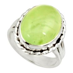 Clearance Sale- 10.69cts natural green prehnite 925 silver solitaire ring size 7.5 d34150