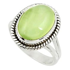 6.58cts natural green prehnite 925 silver solitaire ring jewelry size 7 d34152