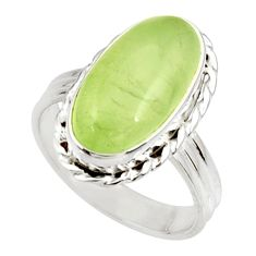 Clearance Sale- 10.04cts natural green prehnite 925 silver solitaire ring jewelry size 9 d34153