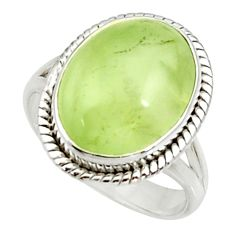 10.70cts natural green prehnite 925 silver solitaire ring jewelry size 9 d34154