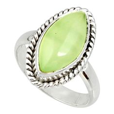 Clearance Sale- 8.22cts natural green prehnite 925 silver solitaire ring jewelry size 8 d34156