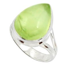 10.02cts natural green prehnite 925 silver solitaire ring jewelry size 7 d34157