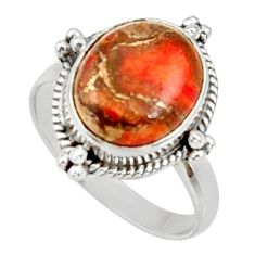 Clearance Sale- 4.82cts red copper turquoise 925 silver solitaire ring jewelry size 7.5 d34176