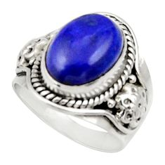 Clearance Sale- 6.53cts natural blue lapis lazuli oval 925 silver solitaire ring size 7 d34184