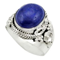 Clearance Sale- 5.43cts natural blue lapis lazuli 925 silver solitaire ring size 8 d34185